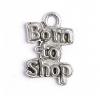 Pendant Born To Shop Antique Pewter